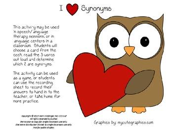 I Love Synonyms Valentine's Day Game