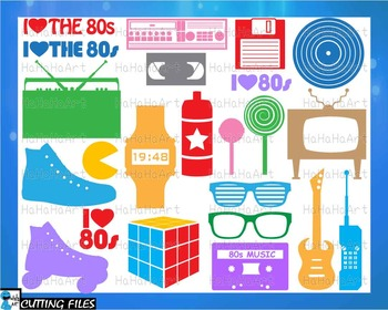 I Love The 80s V2 Solid Monogram Color - Cutting Files and Clip Art cod453c