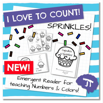 I Love To Count CUPCAKE SPRINKLES Color and Count Emergent Reader