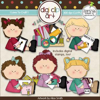 I Love To Craft 1-  Digi Clip Art/Digital Stamps - CU Clip Art