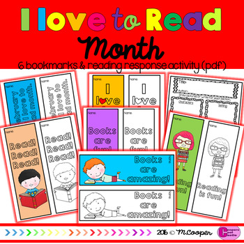 I Love To Read Month Bookmarks & Reading Response