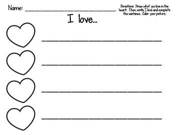 I Love Valentine's Day Writing Activity