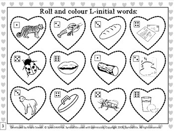 I Love Valentines Day: Roll & Colour L-initial Articulation Freebie
