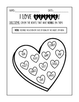 I Love Verbs! Valentine's Parts of Speech Worksheet
