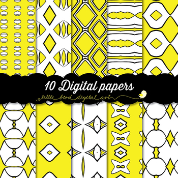 I Love Yellow - 10 Digital Papers