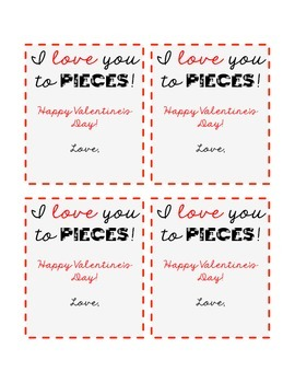 """I Love You to Pieces!"" Valentine's Day Cards"
