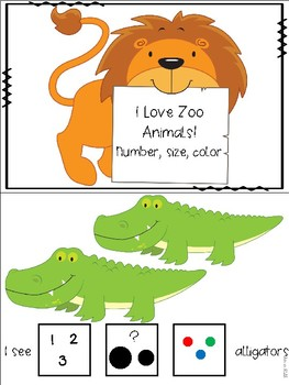 I Love Zoo Animals Adapted Book and Yes/ No Clip Cards