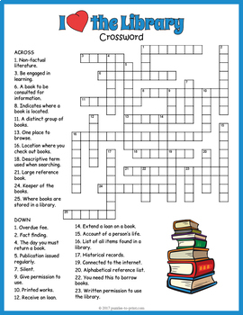 I Love the Library Crossword Puzzle
