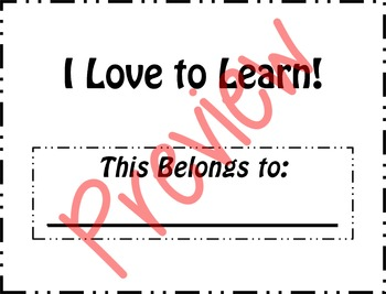I Love to Learn Binder Cover