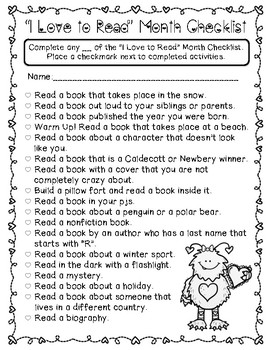 """""""I Love to Read"""" Month - Reading Challenge {FREEBIE!}"""