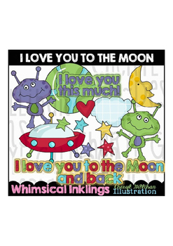 I Love you to the Moon Clipart Collection