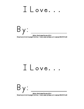 I Love....book for Kindergarten writing at Valentines Day