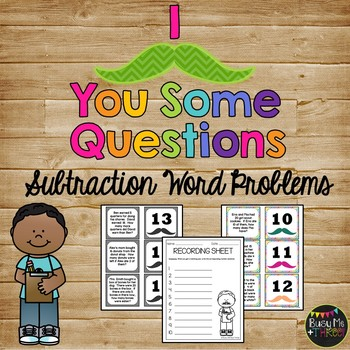 I MUSTACHE You Some Questions SUBTRACTION Word Problems 1-20