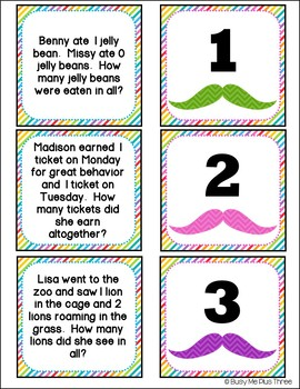 Word Problems ADDITION up to 20, I MUSTACHE You Some Questions