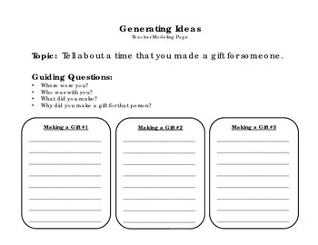 I Made a Gift for You! - Personal Narrative Writing Packet