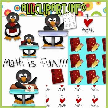 $1.00 BARGAIN BIN - I ♥ Math Penguins Clip Art