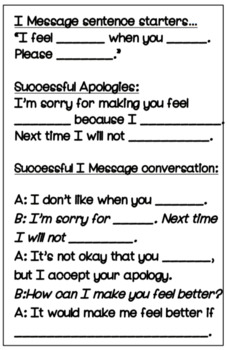I Message Problem Solving for students
