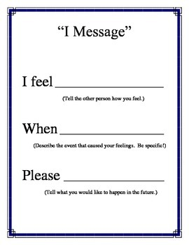 """""""I Message"""" Poster for Conflict Resolution Counseling PBIS Character Ed"""