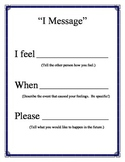 I Message Poster Conflict Resolution Character Ed Social Skills PBIS