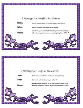 """I Message"" for Conflict Resolution Half-sheet Guidance Counselor"