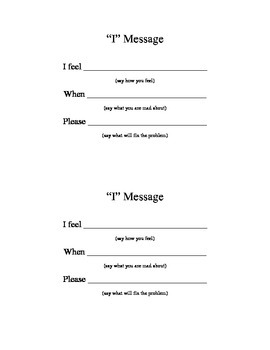"""I Message"" for Conflict Resolution Half-sheet handout Counseling"