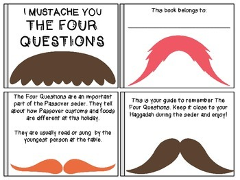 Passover Companion For Kids: I Mustache You The Four Questions