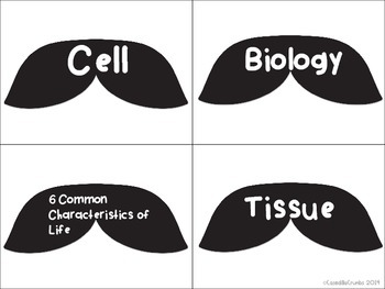 I Mustache You About Life Science Vocabulary Cards