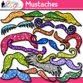 Rainbow Mustache Clip Art {Glitter Graphics for Father's D