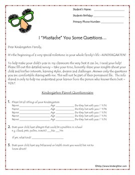 """I """"Mustache"""" You Some Questions-Beginning Of Year Parent Survey/Questionnaire"""