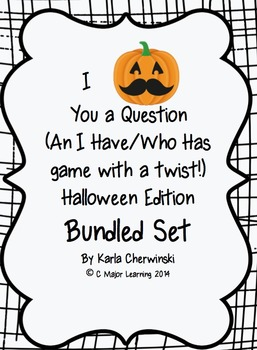 I Mustache You a Question-I have/who has game-Halloween-Bundled Set