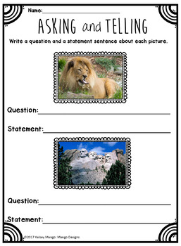 Questions and Statements: Mustache Activities