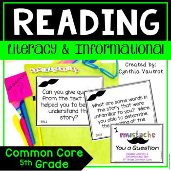 I Mustache You a Question {Reading Literary & Informational Text} 5th Grade
