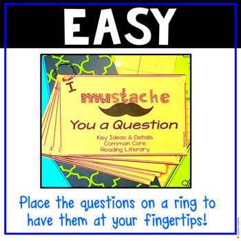 I Mustache You a Question {Task Cards for Key Ideas & Details} Grades 3-5