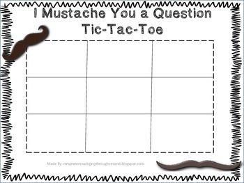 I Mustache You a Question Tic-Tac-Toe