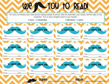 I Mustache You to Read! Reading Log for classroom OR media center 500 min
