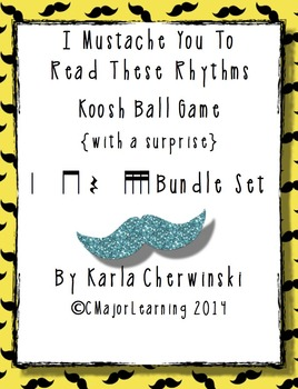 I Mustache You to Read These Rhythms Koosh Ball Game {with a surprise} Bundle