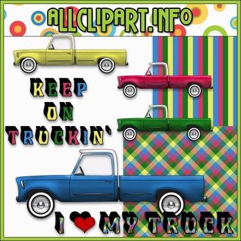 $1.00 BARGAIN BIN - I ♥ My Truck (Patterns) Clip Art