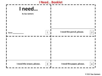 I Need - Class Objects 2 Emergent Reader Booklets - ENGLISH