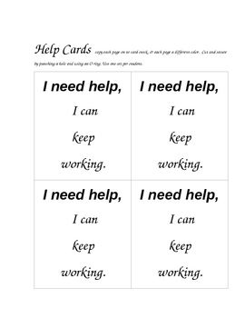 I Need Help Student Desk Cards