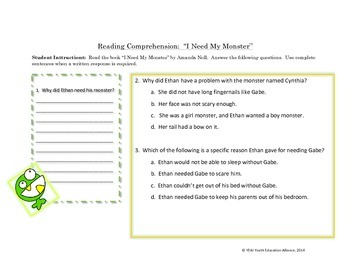 I Need My Monster - A Reading and Writing Lesson
