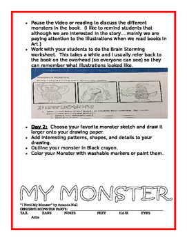 I Need My Monster Art Lesson