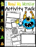 I Need My Monster Book Math and Reading Activity Pack