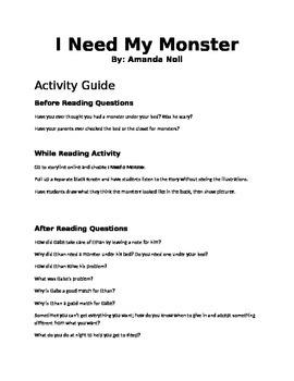 I Need My Monster Read Aloud Activity
