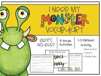 I Need My Monster Vocabulary Activities