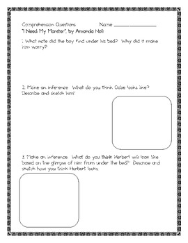 I Need My Monster, by Amanda Noll, Questions, Inferences, & Projects!