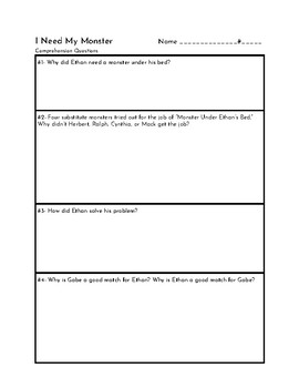 I Need My Monster comprehension worksheet