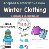 Preschool Winter Activities-Clothing Adapted Book Pre-K and Special Needs