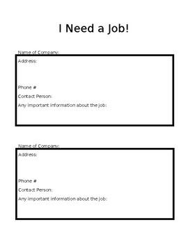 I Need a Job!