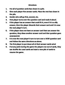 """""""I Need a Silly Answer!"""" Language Arts Card Game for 2nd, 3rd, and 4th Grade"""