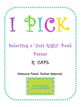 I P-I-C-K for Just Right Books Poster- White & Bright